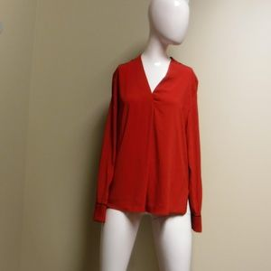 Calvin Klein Red Long Sleeve Blouse Sz Medium NWT